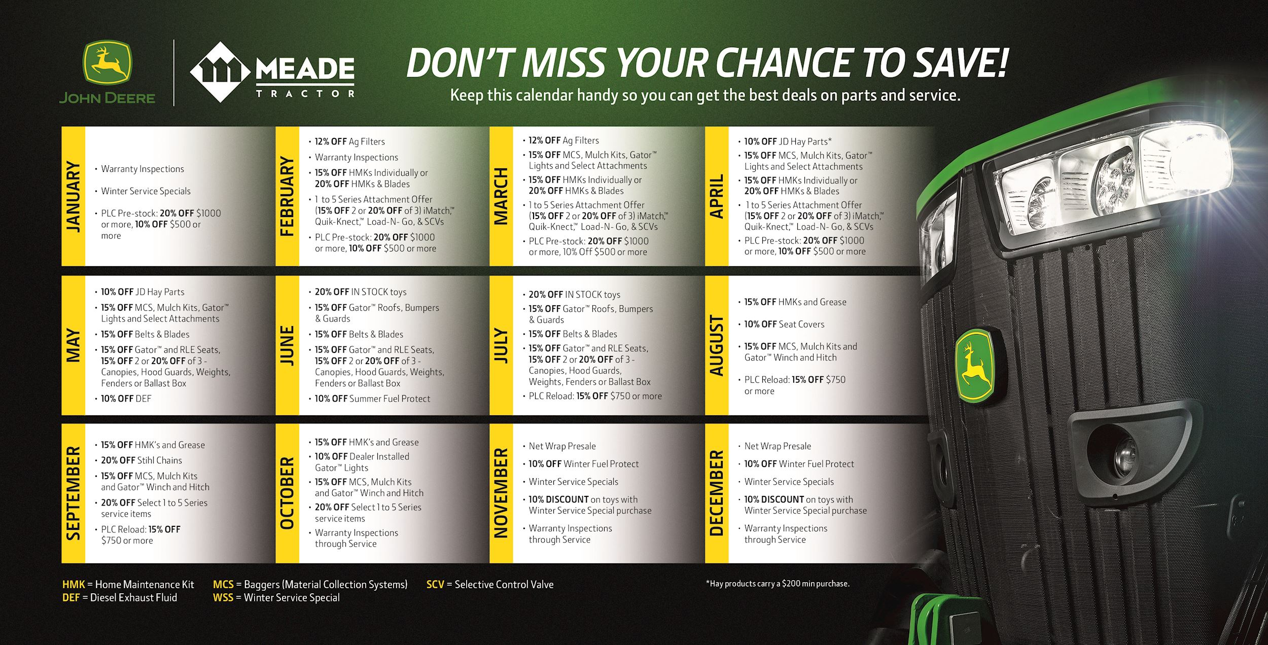 Meade Tractor Parts Promotion Calendar