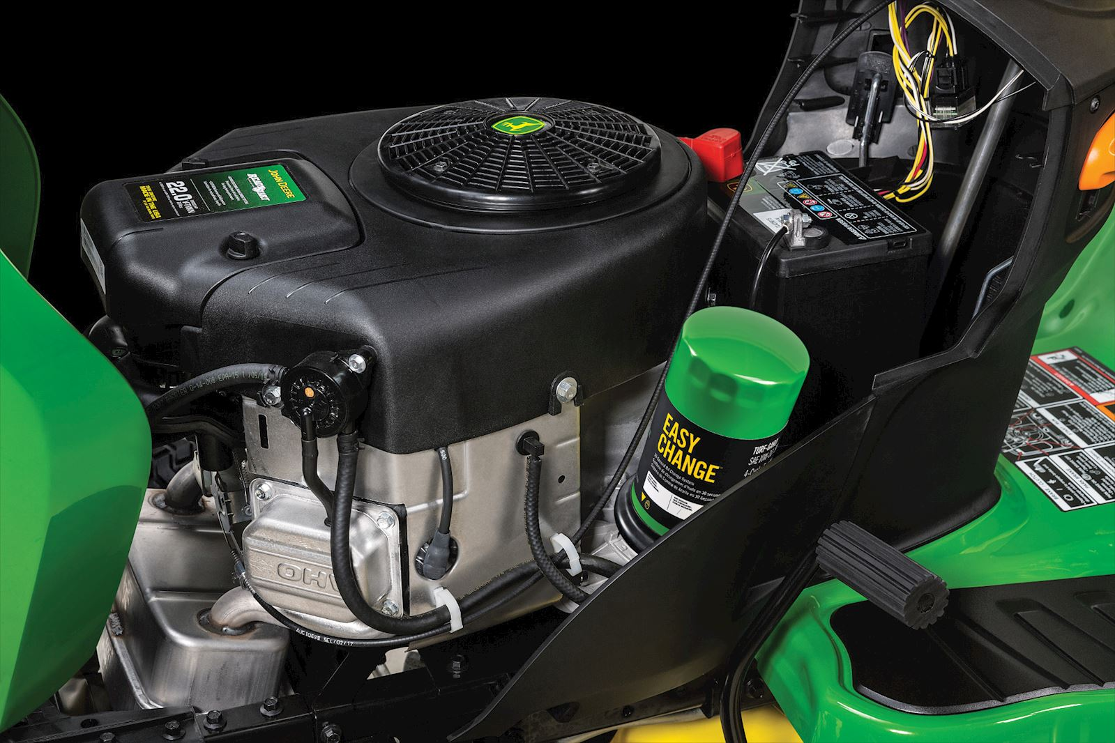 The Easy Change Oil System for E Series Mowers